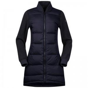 Bergans Oslo Down Hybrid Long Women Jacket dark navy/solid charcoal melange Größe S