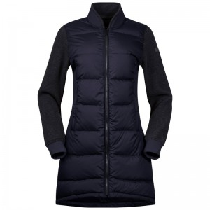 Bergans Oslo Down Hybrid Long Women Jacket dark navy/solid charcoal melange Größe M