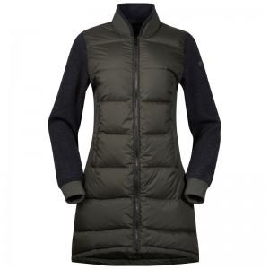 Bergans Oslo Down Hybrid Long Women Jacket seaweed/solid charcoal melange Größe S