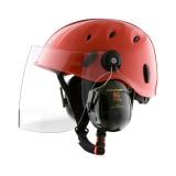 Rock Helmets Combi Work mit Visier und Gehörschutz rot