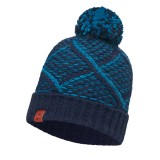 Buff Knitted Hat plaid medieval blue