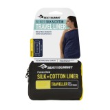 Sea To Summit Premium Silk Cotton Travel Liner Traveller with Pillow Insert navy