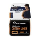Sea To Summit Premium Cotton Travel Liner Mummy with Hood navy blue